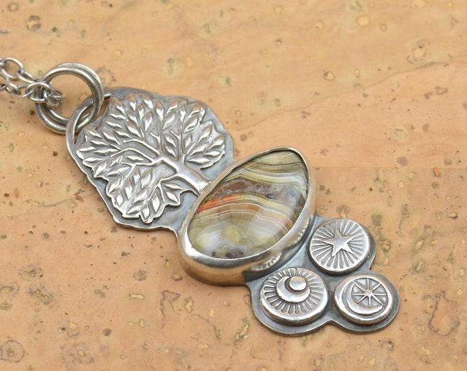 Crazy Lace Agate and sterling silver tree star moon pendant. Artisan tree of life necklace.Unique.Gemstone.Metalsmithing.One of a kind