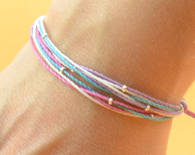 Multiple thread and sterling silver beads bracelet - Multiple cord bracelet - 10 threads personalize bracelet-Choose your colors