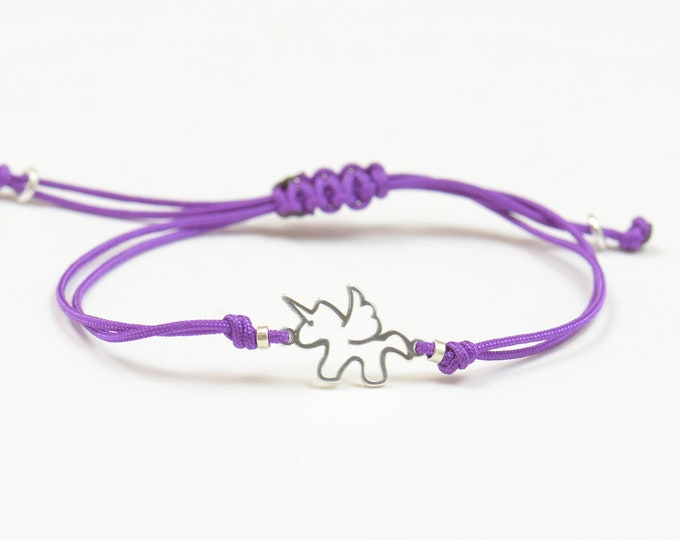Sterling silver Unicorn charm bracelet.Magic bracelet.Snake knot braided cord.Horse unicorn.Waterproof bracelet.Moon stars fantasy