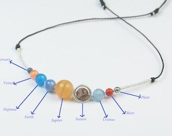 Solar System necklace.Gemstone and silver beads necklace.Galaxy Contellation necklace.Saturn,Jupiter,Earth,Pluto,Mars,Neptune,Mercury,Uranus