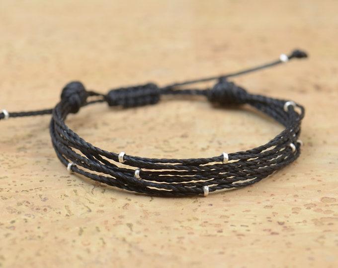 Multiple thread and sterling silver beads bracelet - Multiple cord bracelet - 10 threads personalize bracelet-Choose your color.Adjustable
