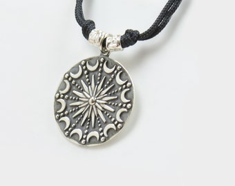 Sterling silver Moon and Sun charm necklace pendant-Sterling silver.Mens or women.Universe sky constellation pendant