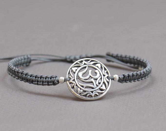 Sterling silver OM bracelet.Kabbalah,karma,growing,yoga bracelet.Nature life earth universe
