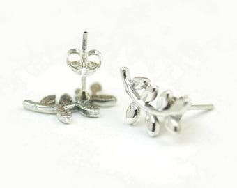 Leafs branch stud tiny earrings-sterling silver-handmade-gift-boho