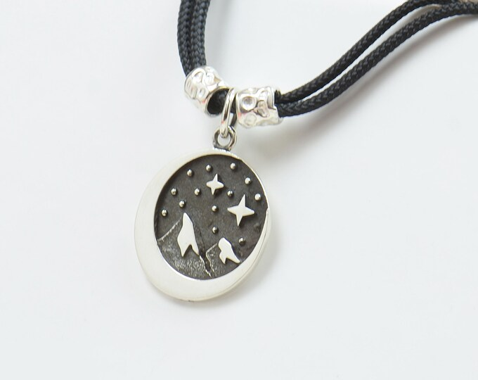 Sterling silver Stars Mountain night Camping charm necklace pendant-Sterling silver and gold vermeil.Mens or women.Mountain pendant
