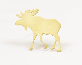 Moose Brooch.Solid Brass.Tie clip,handmade brooch pin clip.Christmas Gist.Nature,animals,mens gift.Artisan unique piece