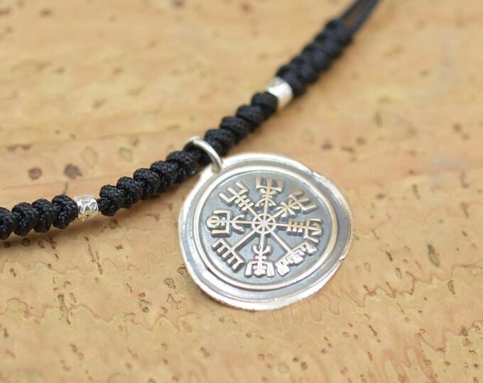 Celtic Vegvisir Viking Necklace from Huld Manuscript Galdrastafir Magic Symbol and Runes,Rune Jewelry,Pagan.Artisan handmade sterling silver