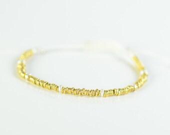 Sterling silver vermeil hoops and freshwater pearls bracelet