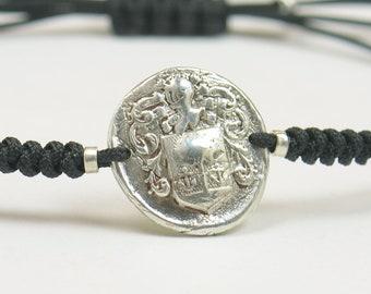 Sterling silver Vintage Wax seal Medieval Middle ages artisan handmade bead bracelet.Rustic.Heraldry,heraldic Castle crown armor.Mens