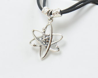 Sterling silver Atom charm necklace pendant-Sterling silver.Mens or women.Physics