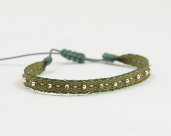 Telar Egipcio-Tablet Weaving Ribbon adjustable bracelet with sterling silver beads.Embroidered woven ribbon