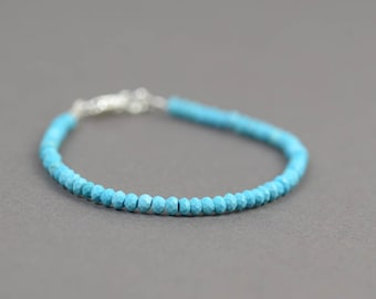 SALE- Turquoise faceted  beads bracelet