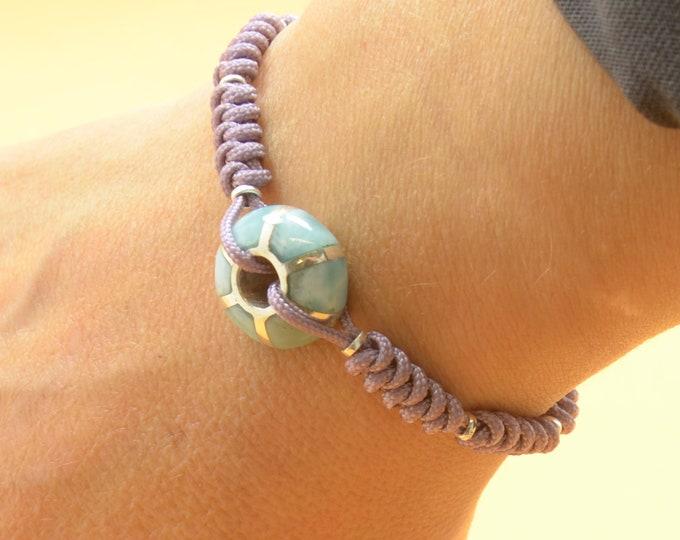 Larimar bracelet.Handmade bead.Macrame bracelet.Woven bracelet,braided bracelet.Sterling silver bracelet.Blue Gemstone