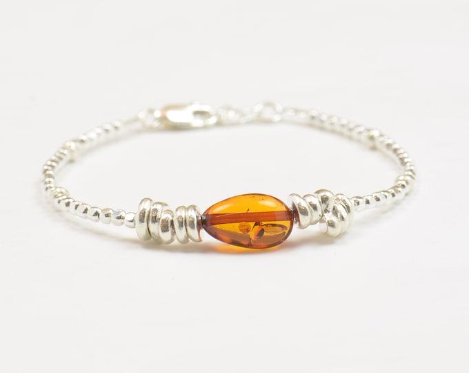Amber and sterling silver bracelet, Amber bracelet, amber silver bracelet, amber jewelry,amber bead bracelet