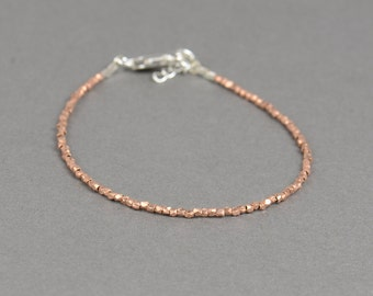 Tiny sterling silver rose gold beads  bracelet