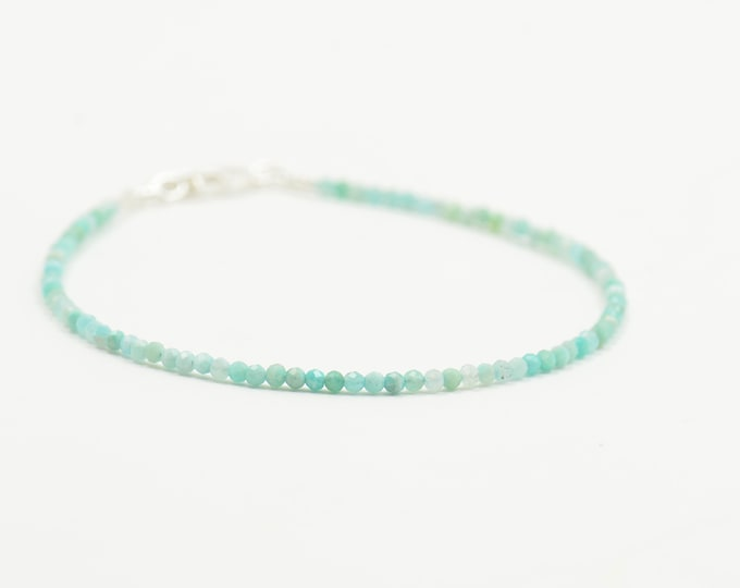 Amazonite and sterling silver beads  bracelet