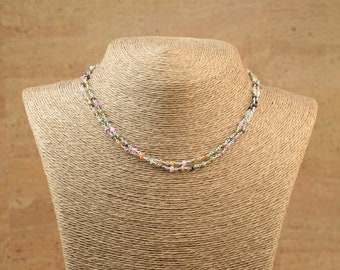 SALE-Multigemstones  and sterling silver Wire-Wrapped Beaded  bracelet and necklace