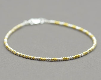 Gold vermeil and sterling silver tiny beads  bracelet
