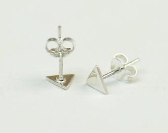 Triangle stud tiny earrings-sterling silver-handmade-gift-boho