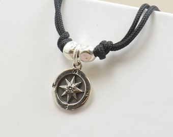 Sterling silver Compass charm necklace pendant-Sterling silver.Mens or women.Wind Rose