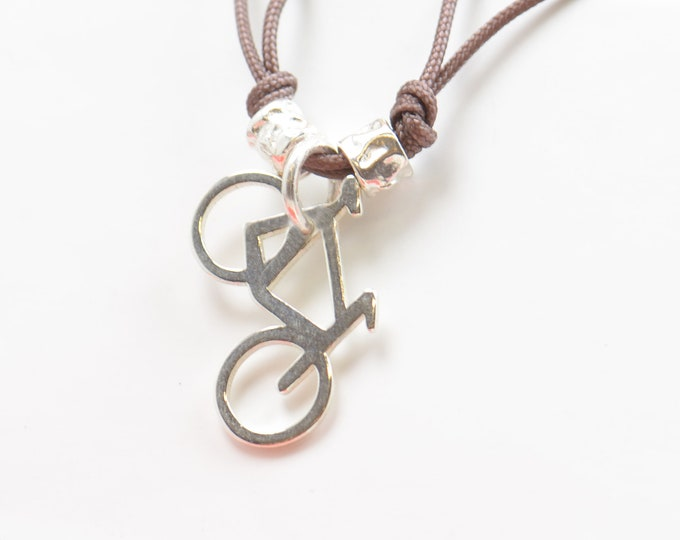 Sterling silver bicycle charm necklace-pendant.Mens gift.unisex bicycle bracelet