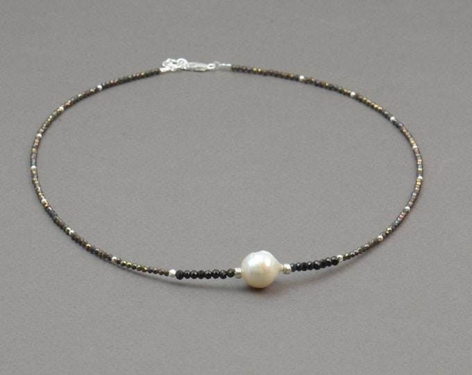 Black Tourmaline,brown spinel,baroque pearl and sterling silver necklace.Gemstones necklace
