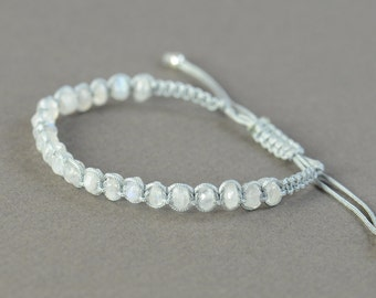 SALE- Moonstone macrame woven bracelet