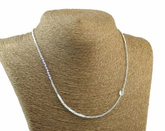 Gemstones and sterling silver beads Necklace.Dainty.Amethyst,Labradorite,Aquamarine ,pink quartz