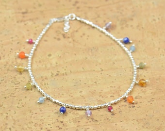 Sterling silver and gemstones anklet,7 Chakras charms.Hanging Charms.Sterling silver clasp.Sterling silver beads.Friendship dainty