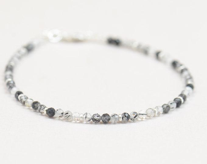 Tourmalinated quartz and sterling silver bracelet.Dainty bracelet.Wrap.Sterling Silver,tourmalinated quartz.Black