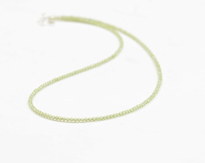 Peridot faceted round beads with sterling silver hoops necklace