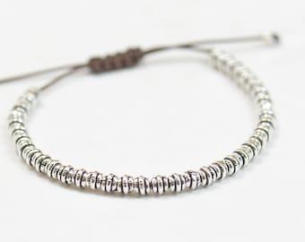 Sterling Silver beaded friendship bracelet.Woven bracelet.Macrame bracelet.Braided Bracelet.Donut beads.Men Man bracelet.mens bracelet