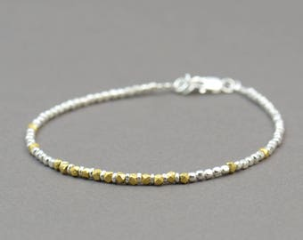 Gold vermeil and sterling silver beads  bracelet