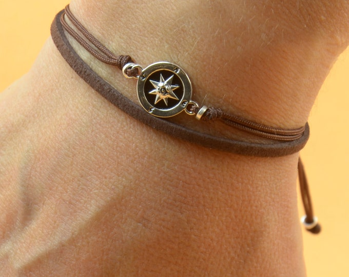 Sterling Silver Compass charm bracelet. Mens bracelet