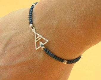 TeePee bracelet Tent charm bracelet-Sterling silver-Woven Bracelet-Indian Tent Tepee Tipi Bracelet-Camping