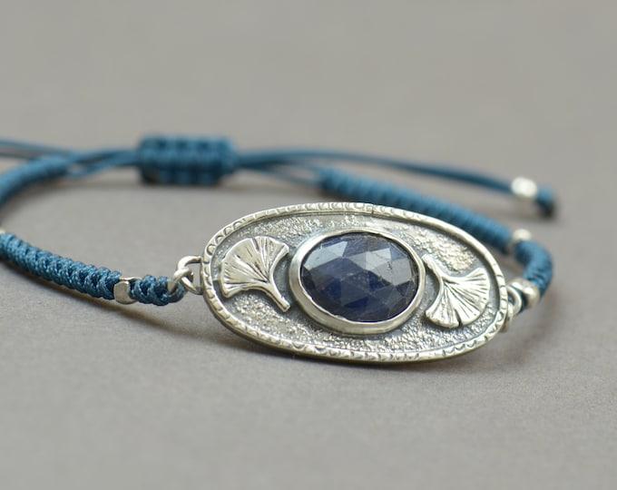 Sapphire bracelet.Artisan Sterling silver ginkgo leaf stars planets universe.Unique exclusive rustic.Blue Gemstone.Handmade Metalsmithing