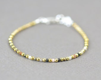 Tiny tourmaline and sterling silver vermeil gold  beads  bracelet