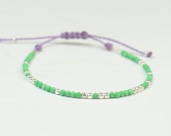 SALE- Green beads bracelet , Sterling silver.Choose your color