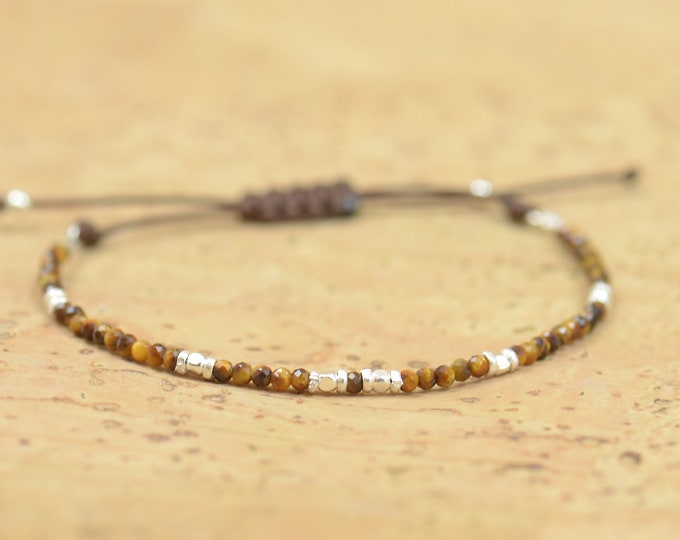 Tiger Eye and sterling silver beads bracelet , faceted tiny beads
