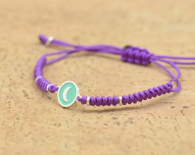 Enamel Moon charm bracelet-Sterling silver-Stars-Universe-Chakras-Moon-Earth-planets