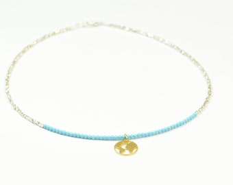 Sterling silver and turquoise necklace with vermeil gold earth charm