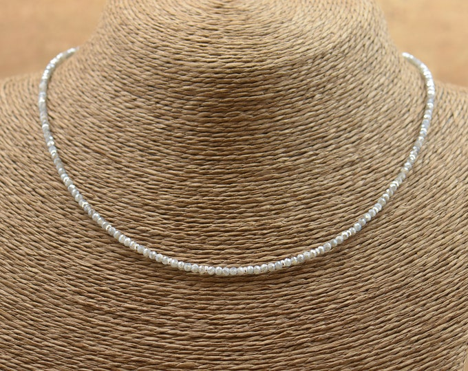 Labradorite faceted round beads with sterling silver hoops necklace