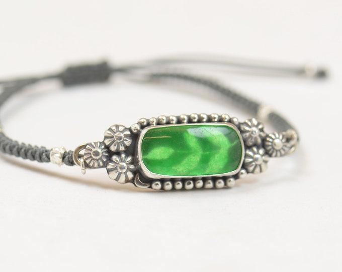 Unique Piece-Genuine Green jade artisan handmade bracelet.Sterling silver.Silver bezel.Gemstone setting Metalsmithing silversmith