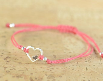 Double Heart bracelet . Sterling silver and Rose vermeil sterling silver