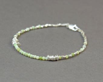 Green Opal and sterling silver beads bracelet
