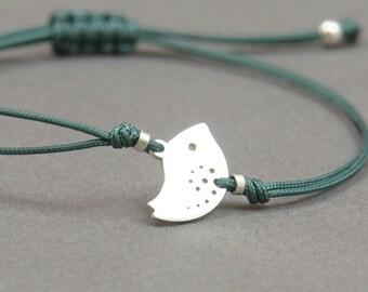 Sterling silver little bird bracelet.Tiny delicate gift for her