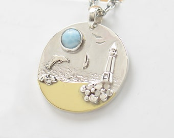 Larimar sterling silver pendant. Artisan lighthouse sea windsurf sun whale orca dolphin.Unique.Sterling silver.Blue Gemstone.Metalsmithing