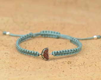 SALE-Sterling silver watermelon charm bracelet