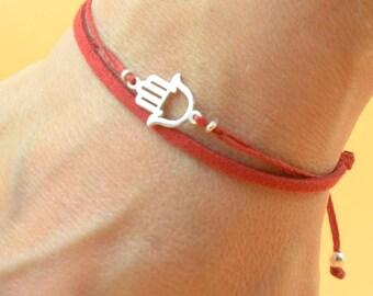 Sterling Silver Hamsa Hand fatima hand protection charm bracelet. Mens bracelet.Good Karma bracelet.Circle of life,Red kabbalah Bracelet.Men