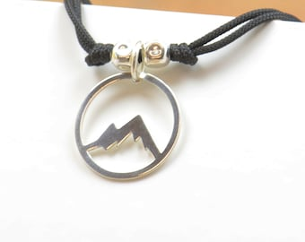 Sterling silver Mountain charm necklace pendant-Sterling silver.Mens or women